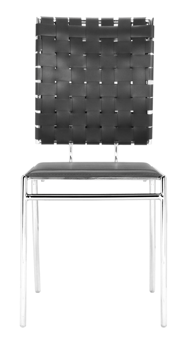 Criss Cross Dining Chair Black is From the Indoor Collection designed in Chromed Steel and Leatherette. Criss Cross Collection part of the Chairs, Stools set.