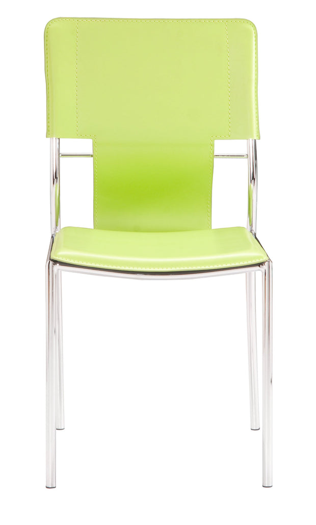Trafico Dining Chair Green is From the Indoor Collection designed in Chromed Steel and Leatherette. Trafico Collection part of the Chairs, Stools set.