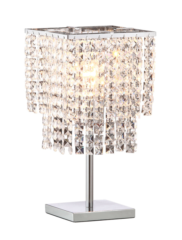 Falling Stars Table Lamp From the Lighting Collection in Chrome with In-line Switch. Falling Stars Table Lamps bulb type is Type A19 with Max bulb watt at 60W with socket size E26