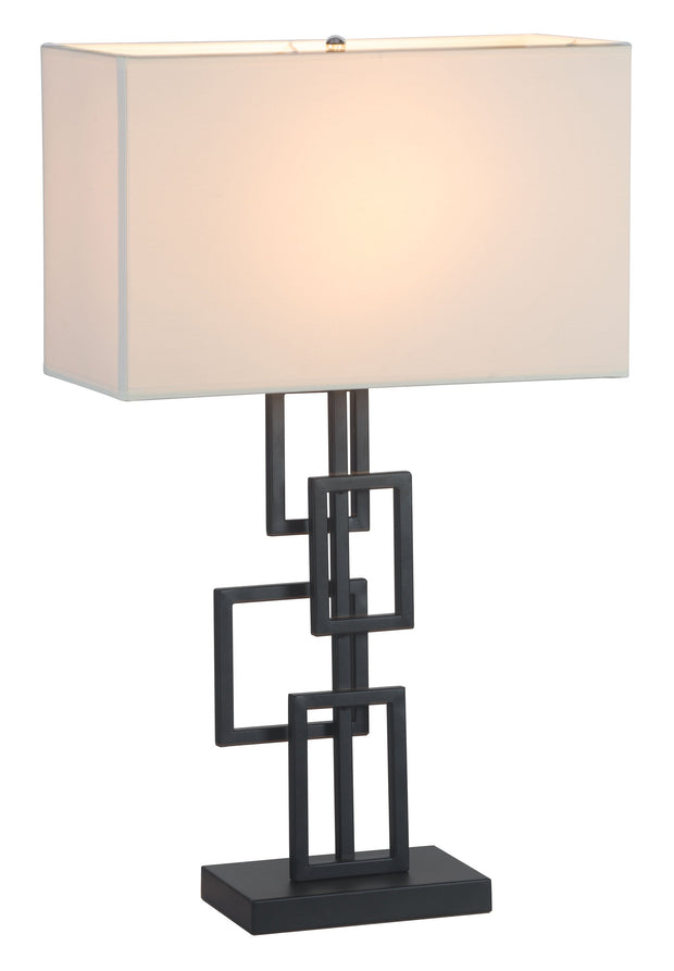 Step Table Lamp From the Lighting Collection in Metal with In-line Switch. Step Table Lamps bulb type is Type A19 Frosted white with Max bulb watt at 60W with socket size E26