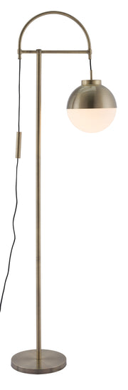 Waterloo Floor Lamp White & Brushed Brass From the Lighting Collection in Metal with FOOT, SUIT DIMMER. Waterloo Floor Lamps bulb type is A19 with Max bulb watt at 60W with socket size E26