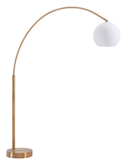 Griffith Floor Lamp Brushed Brass From the Lighting Collection in Brushed Brass with Foot Switch. Griffith Floor Lamps bulb type is A19 with Max bulb watt at 100W with socket size E26