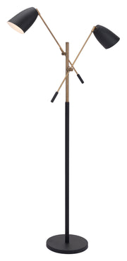 Tanner Floor Lamp Matt Black & Brass From the Lighting Collection in Steel & Marble with FOOT, SUIT DIMMER. Tanner Floor Lamps bulb type is G50 with Max bulb watt at 40W with socket size E12