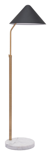 Pike Floor Lamp Black From the Lighting Collection in Steel & Marble with FOOT, SUIT DIMMER. Pike Floor Lamps bulb type is A19 with Max bulb watt at 100W with socket size E26
