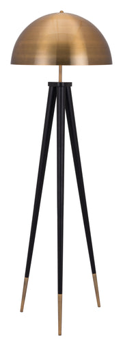 Mascot Floor Lamp Brass & Black From the Lighting Collection in Steel with FOOT, SUIT DIMMER. Mascot Floor Lamps bulb type is A19 with Max bulb watt at 60W with socket size E26