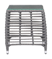 Trek Beach Side Table Gray & Beige is From the Outdoor Collection designed in Aluminum Frame and Tempered Glass, Synethetic Weave. Trek Beach Collection part of the Outdoor set.