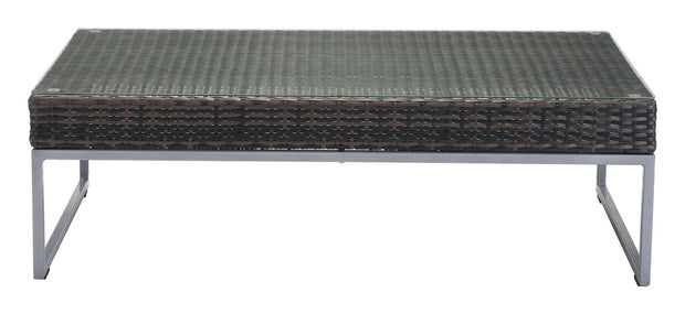 Malibu Coffee Table Brown & Silver is From the Outdoor Collection designed in Aluminum Frame and Tempered Glass, Synethetic Weave. Malibu Collection part of the Outdoor set.