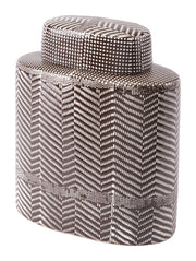 Tribu Small Covered Jar Brown & White