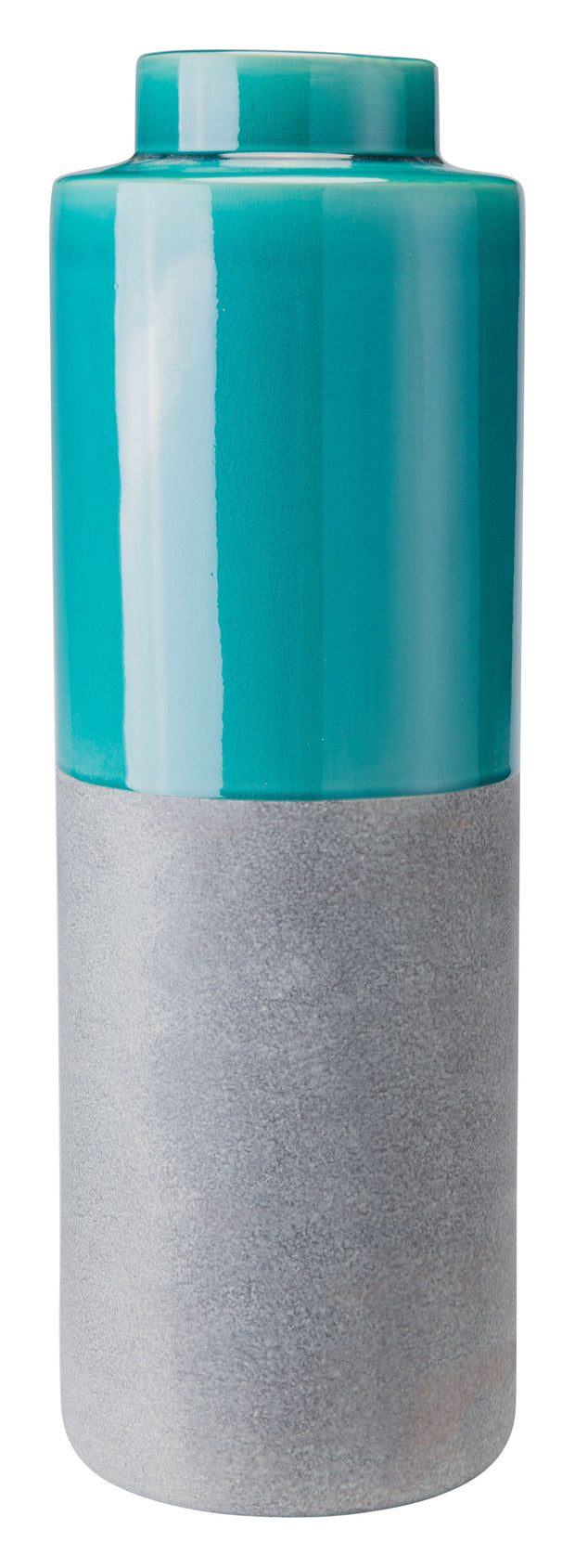 Stoneware Bottle Large Teal And Gray