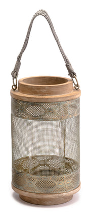 Wood Lantern Small Gray