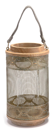 Wood Lantern Large Gray