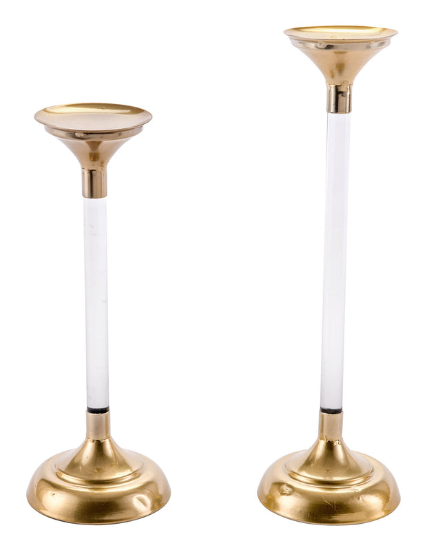 Set Of 2 Lucite Candle Holders Gold