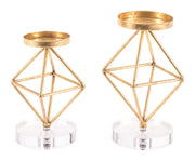 Rombo Set Of 2 Candle Holders Gold
