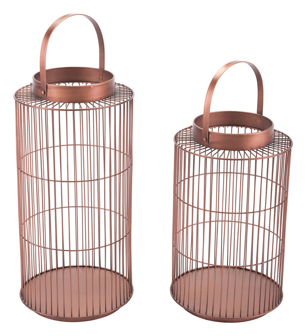 Set Of 2 Metal Lanterns Bronze