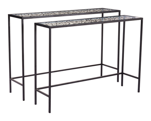 Web Set Of 2 Console Tables Black