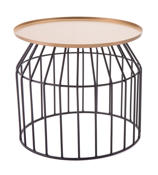 Tray End Table Large Gold & Black