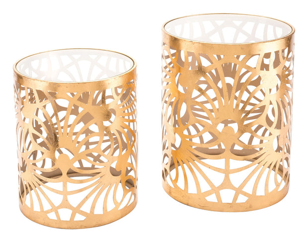 Tropic Set Of 2 Gold Tables Gold