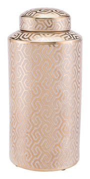 Zig Zag Covered Jar Large Gold And White