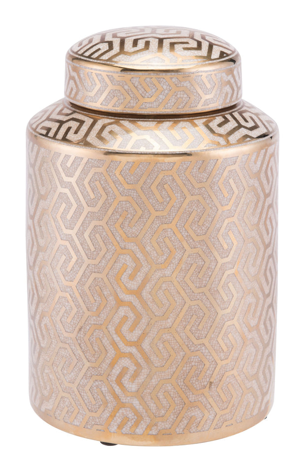 Zig Zag Covered Jar Medium Gold And White