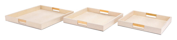 Camba Lizard Skin Set of 3 Trays Cream