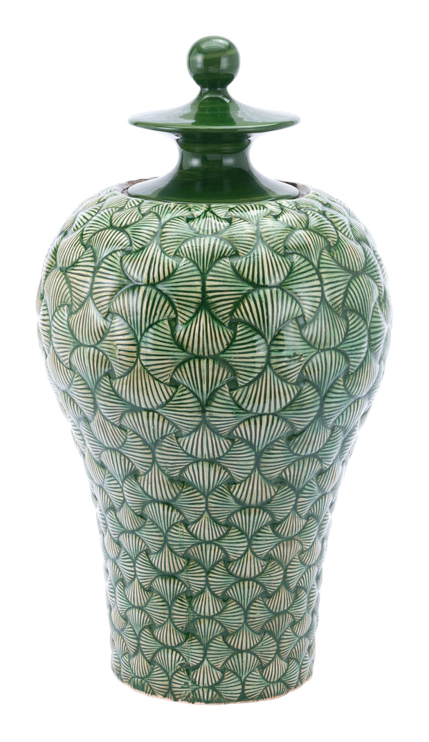 Ventra Large Temple Jar Green