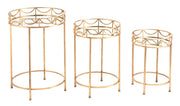Set of 3 Side Tables Gold