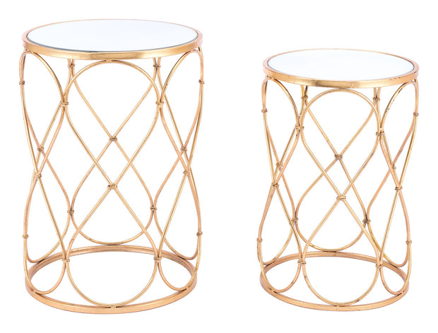 Twist Set of 2 End Tables Gold