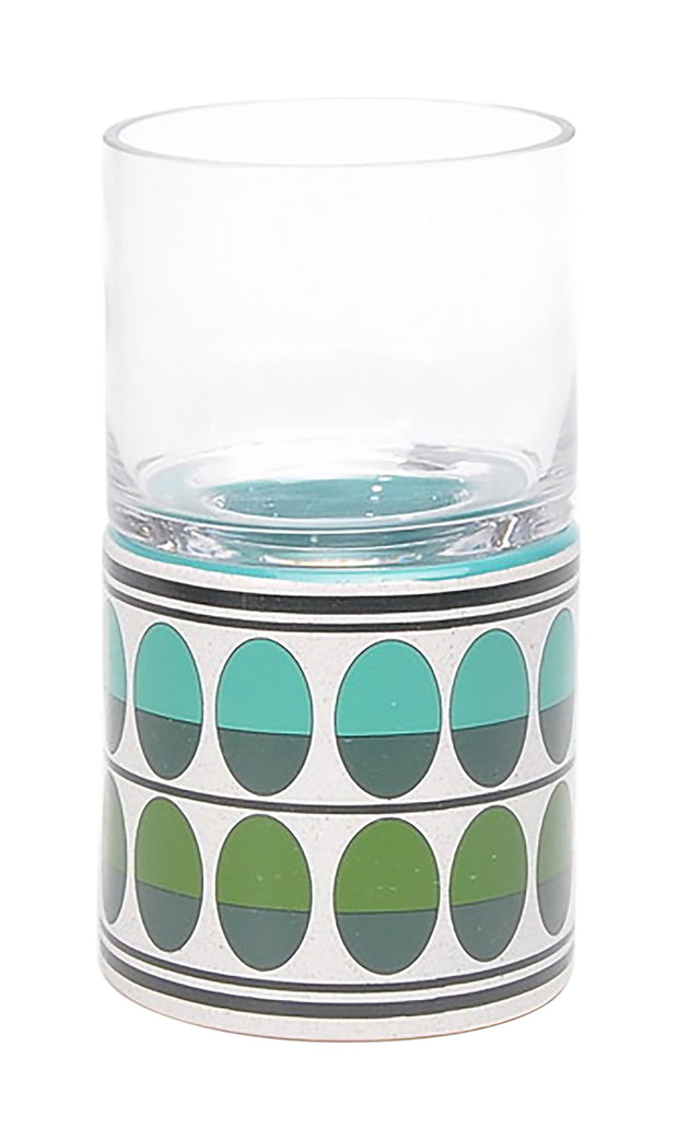 Retro Small Candle Holder Green & Teal