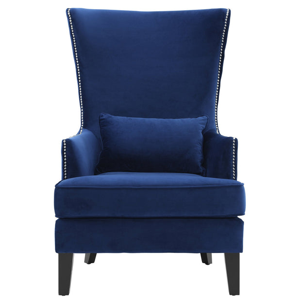 Bristol Navy Tall Chair from the Bristol Collection  made from Velvet in Navy featuring Handmade by skilled furniture craftsmen and Kiln dried solid wood frame with black Birch legs