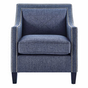 Asheville Blue Linen Chair from the Asheville Collection  made from Linen in Blue featuring Handmade by skilled furniture craftsmen and Hand-applied silver nail head trim