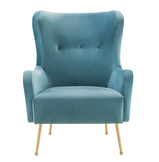 Ethan Sea Blue Velvet Chair from the Ethan Collection  made from Velvet, Wood, Stainless Steel in Blue featuring Handmade by skilled furniture craftsmen and Elegantly curved silhouette provides maximum comfort