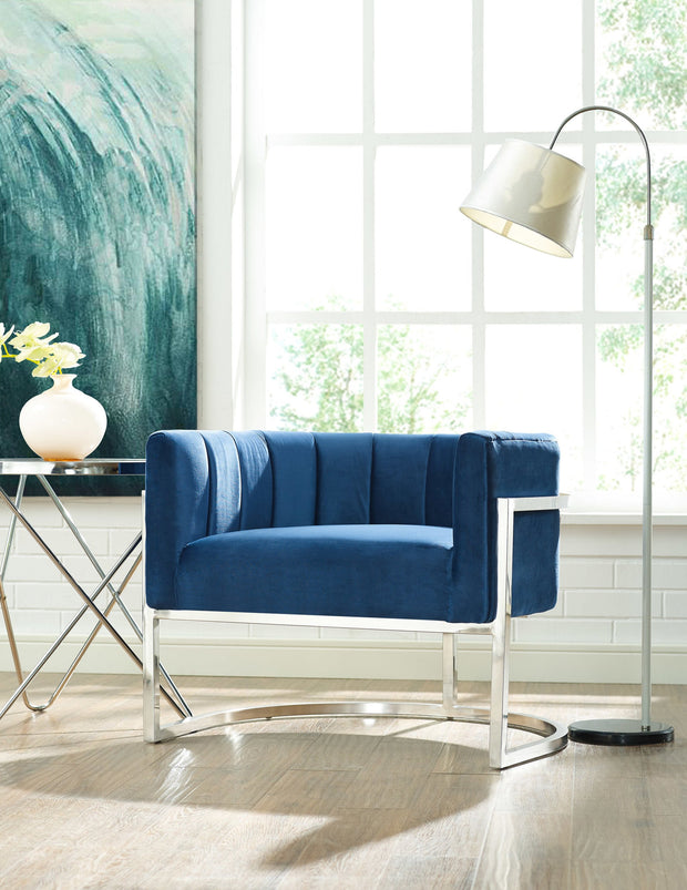 Magnolia Navy Chair with Silver Base