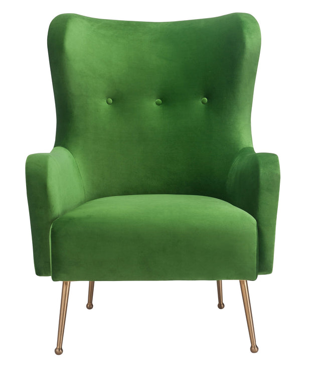 Ethan Green Velvet Chair from the Ethan Collection  made from Velvet, Wood, Stainless Steel in Green featuring Handmade by skilled furniture craftsmen and Elegantly curved silhouette provides maximum comfort