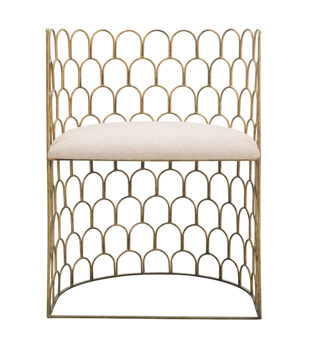 Abby Metal Chair made from Steel  in Gold, Beige featuring Hand welded gold steel frame and Beige linen seat cushion