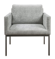 Canton Grey Velvet Chair from the Canton Collection  made from Velvet, Stainless Steel in Grey featuring Handmade by skilled furniture craftsmen and Sumptuous yet durable textured velvet upholstery