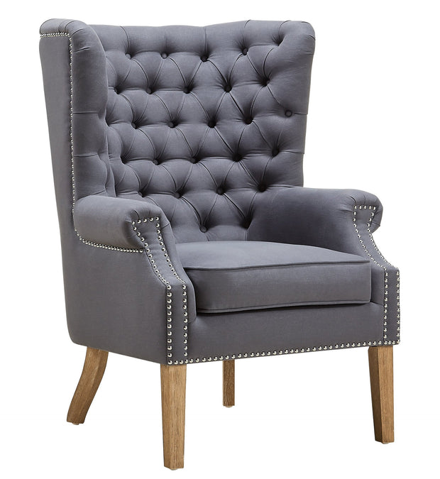 Abe Grey Linen Wing Chair