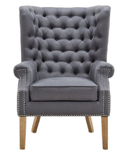 Abe Grey Linen Wing Chair from the Abe Collection  made from Linen, Wood in Grey featuring Completely handmade  and Solid Oak wood frame with natural Oak legs and non-marking feet