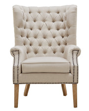 Abe Beige Linen Wing Chair from the Abe Collection  made from Linen, Wood in Beige featuring Completely handmade  and Solid Oak wood frame with natural Oak legs and non-marking feet