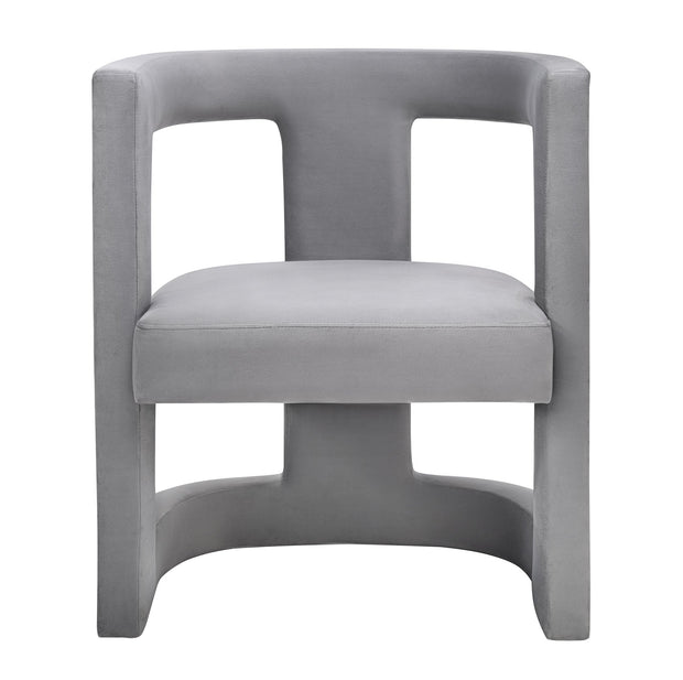 Ada Grey Velvet Chair from the Ada Collection  made from Velvet, Birch in Grey featuring Handmade by skilled furniture craftsmen and Sculpted frame is made from Birch