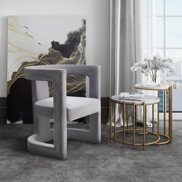 Ada Grey Velvet Chair