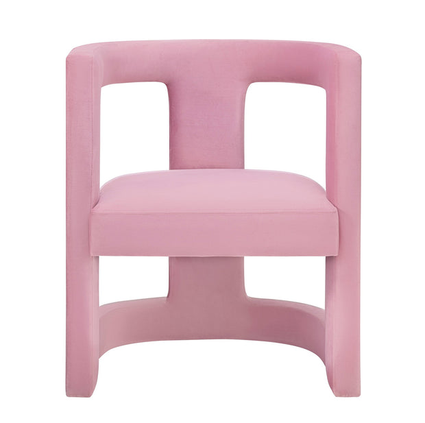 Ada Pink Velvet Chair from the Ada Collection  made from Velvet, Birch in Pink featuring Handmade by skilled furniture craftsmen and Sculpted frame is made from Birch