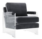 Serena Grey Velvet/Lucite Chair