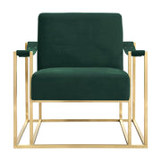 Baxter Forest Green Velvet Chair from the Baxter Collection  made from Stainless Steel, Velvet in Forest Green featuring Handmade by skilled furniture craftsmen and Stainless steel gold frame