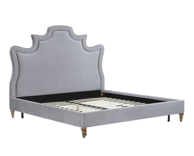 Serenity Grey Velvet Bed in Queen