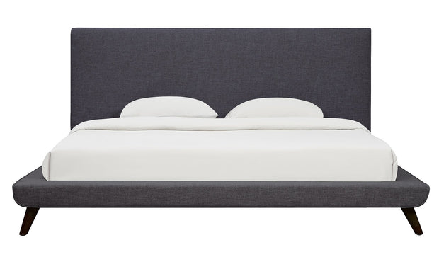 Nixon Grey Linen Bed in Queen from the Nixon Collection  made from Linen in Grey featuring Mid-Century Design and Handmade by skilled furniture craftsmen