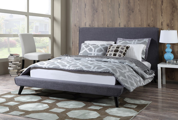 Nixon Grey Linen Bed in Full from the Nixon Collection  made from Linen in Grey featuring Mid-Century Design and Handmade by skilled furniture craftsmen