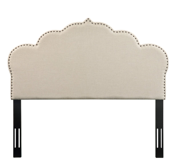 Noches Queen Headboard in Beige Linen from the Noches Collection  made from Velvet, Wood, Metal in Beige featuring Headboard has to be attached to a standard bed frame - not included and Individually hand-applied bronze nail heads