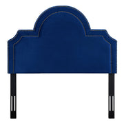 Laylah Twin Headboard in Navy Velvet from the Laylah Collection  made from Velvet, Wood, Metal in Navy featuring Headboard has to be attached to a standard bed frame - not included and Handmade with individually hand-applied bronze nail heads