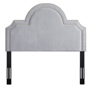 Laylah Twin Headboard in Grey Velvet from the Laylah Collection  made from Velvet, Wood, Metal in Grey featuring Headboard has to be attached to a standard bed frame - not included and Handmade with individually hand-applied bronze nail heads