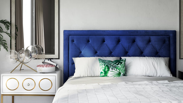 Nacht Full Headboard in Navy Velvet